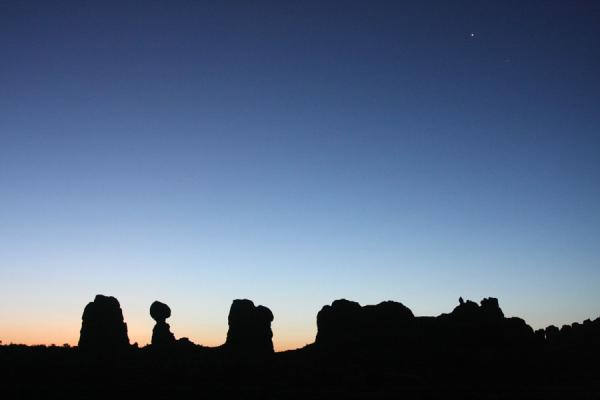 Contours of Balanced Rock and other formations at dawn | Arches National Park | United States