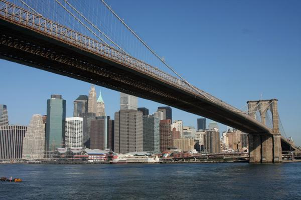 Picture of Brooklyn Bridge (U.S.A.): Skyline of lower Manhattan framed by Brooklyn Bridge