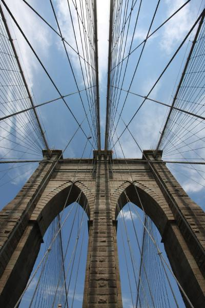 One of the pylons of Brooklyn Bridge seen from below | New York | U.S.A.