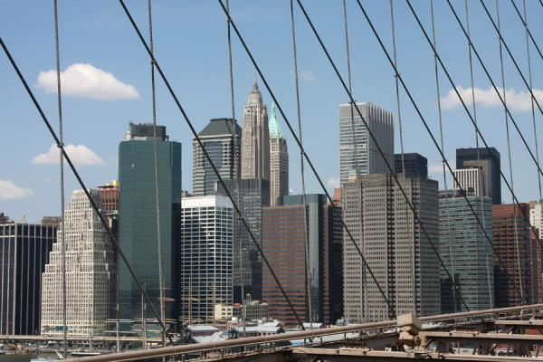 Picture of Cables of Brooklyn Bridge with the skyline of lower Manhattan