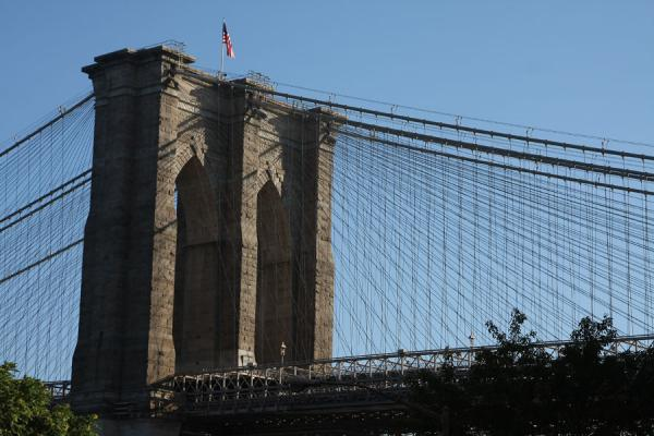 Pylon of Brooklyn Bridge seen from street level | New York | U.S.A.