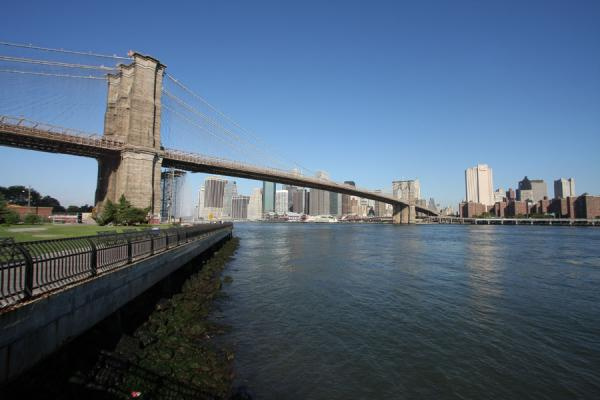 Brooklyn Bridge connects Brooklyn to Manhattan, crossing the East River | Brooklyn Bridge | U.S.A.