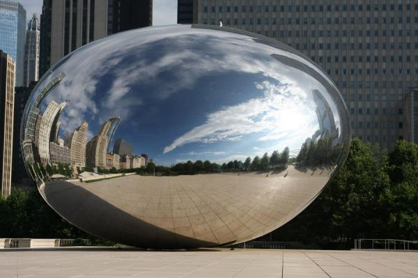 Part of Millennium Park reflected in the Cloud Gate, or Bean | Chicago Millennium Park | U.S.A.
