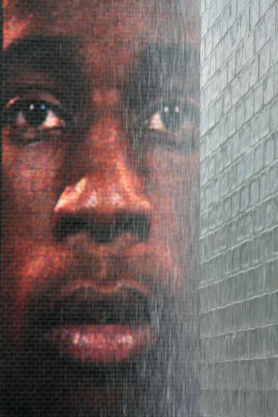 Picture of One of the many Chicago faces on a huge LED display at Crown Fountain