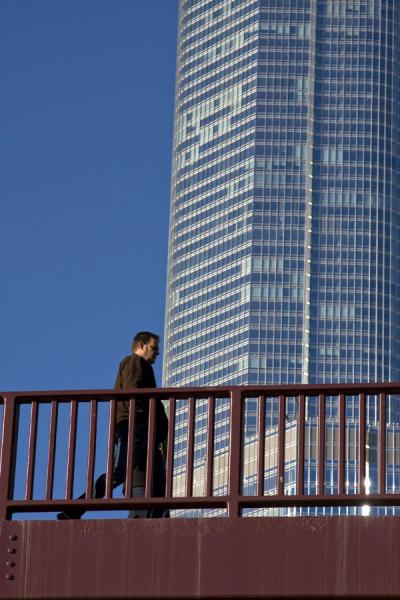 Man walking a bridge over Chicago River | Chicago Riverwalk | U.S.A.