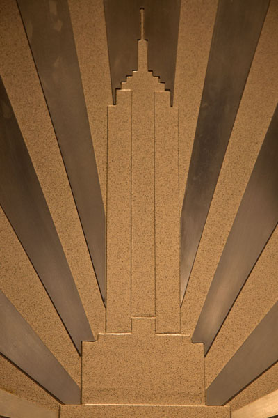Picture of Empire State Building engraved on one of its interior walls