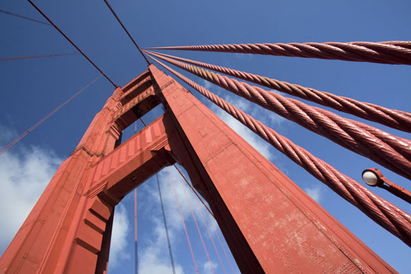 Cables and pylon seen from below | Golden Gate Bridge | U.S.A.