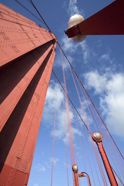 Looking up the southern pylon with lanterns | Golden Gate Bridge | U.S.A.