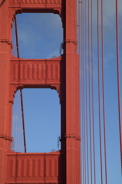 Close-up of pylon with Art Deco elements | Golden Gate Bridge | United States