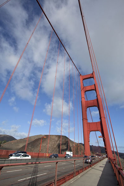 Looking up cables and the northern pylon of the Golden Gate Bridge | San Francisco | U.S.A.