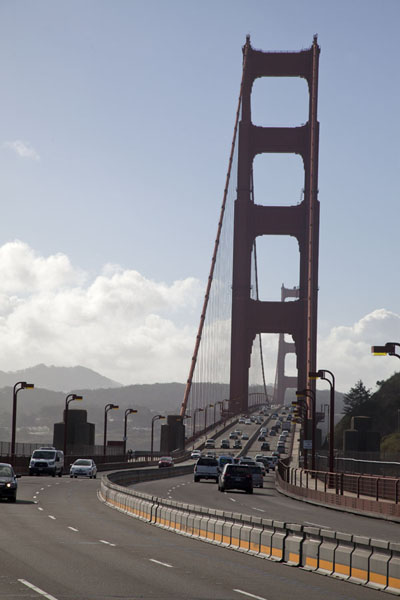 Looking down the Golden Gate Bridge from the northern entrance | Golden Gate Bridge | U.S.A.