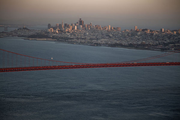 San Francisco and Golden Gate Bridge in the foreground at dusk | Golden Gate Bridge | United States