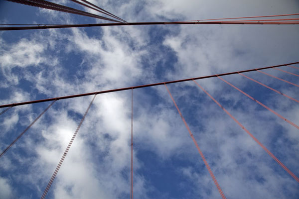 Looking up the bridge with the red cables | Golden Gate Bridge | United States