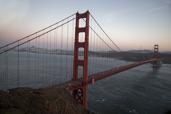 Dusk over Golden Gate Bridge seen from Battery Spencer | Golden Gate Bridge | United States