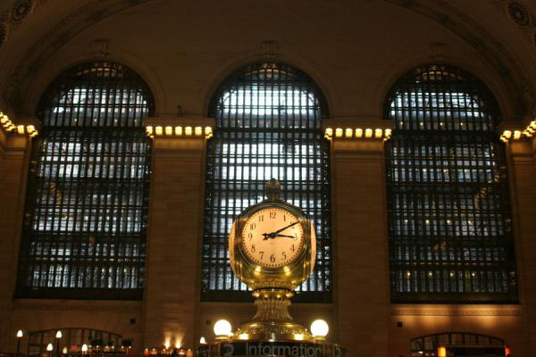 The enormous clock on the information booth, dwarfed by the size of the station | Grand Central Terminal | U.S.A.