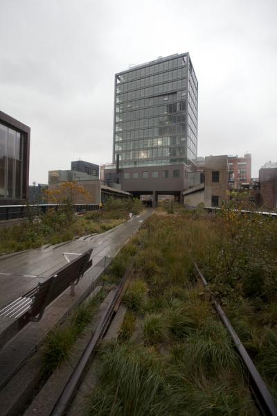 Old railroad tracks running through buildings in the Meatpacking District | High Line | les Etats-Unis