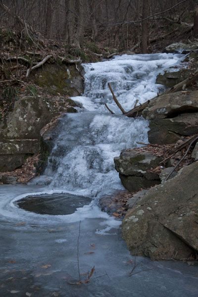 Picture of Hudson Highlands (U.S.A.): Frozen waterfall in the forest above Beacon