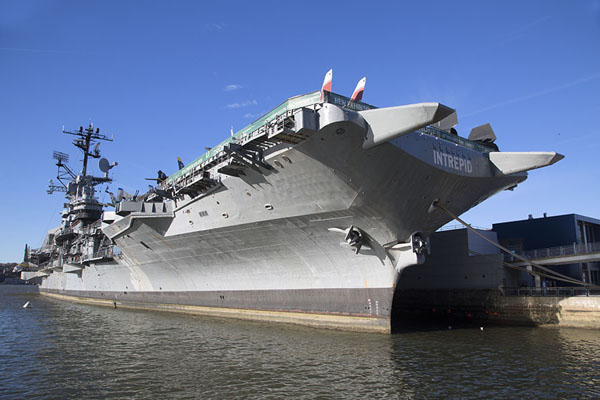The Intrepid docked at a pier of west-side Manhattan in the Hudson river | Intrepid Sea Air Space Museum | U.S.A.