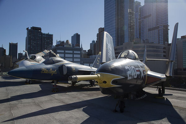 Row of fighter planes with Grumman AF-9J Cougar in the foreground | Intrepid Sea Air Space Museum | U.S.A.