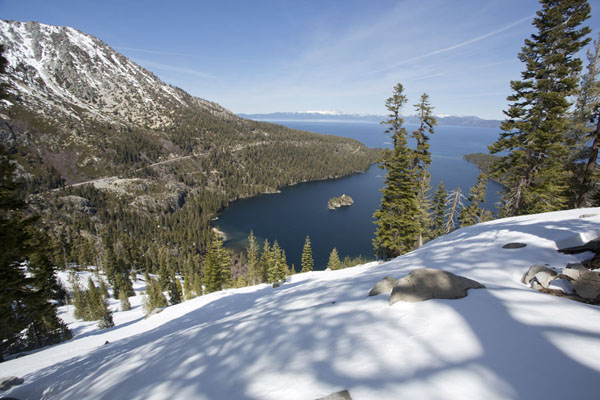 View over Emerald Bay with Fannette Island from a snowy viewpoint | Lake Tahoe | United States