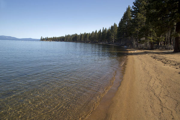 Foto di Zephyr Cove beach of in the early morningLake Tahoe - Stati Uniti