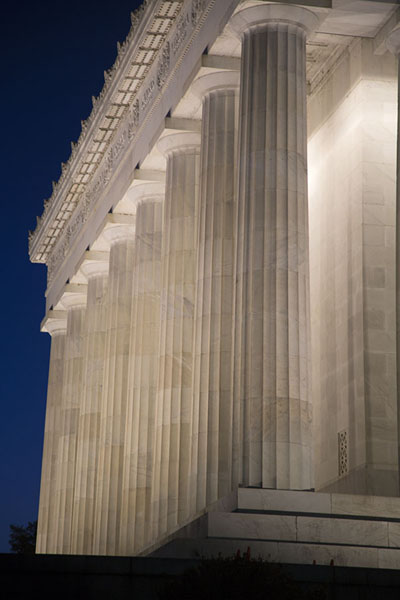 Picture of Lincoln Memorial (United States): Row of columns of Lincoln Memorial lit for the night