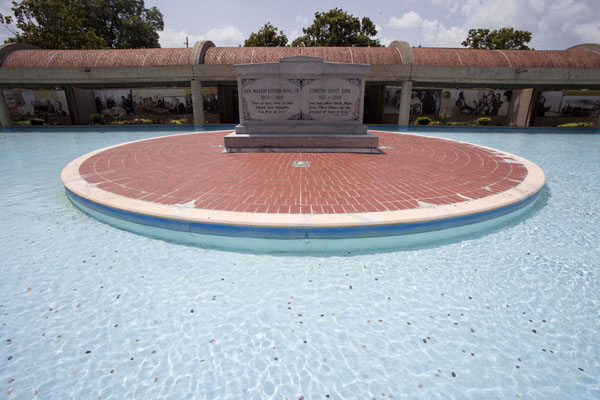 Tombs of Martin Luther King and Loretta Scott King in the reflecting pool at the King Center | Martin Luther King Jr  Historic Site | U.S.A.