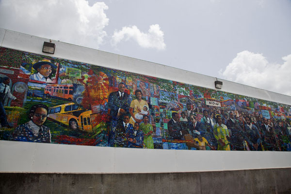 Picture of The struggle for social justice in the 1960s, in which Martin Luther King played a major role, depicted in this colourful mural