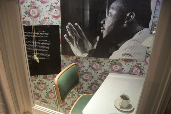Picture of Martin Luther King Jr  Historic Site (U.S.A.): Scene inside the Visitor Center with Martin Luther King in a reflective pose
