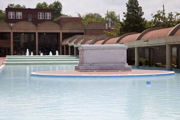 Picture of Martin Luther King Jr  Historic Site (U.S.A.): The tombs of Martin Luther King and Coretta Scott King, with the reflecting pool and part of the King Center in the background
