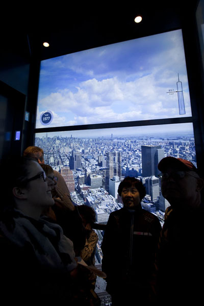 The history of New York projected on the walls of the elevator | One World Trade Center | U.S.A.
