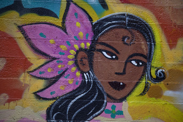 Picture of Girl with flower, detail of a mural on the wall of St Vitus church in Pilsen - U.S.A. - Americas