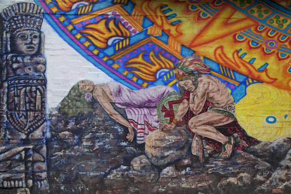 Detail of a mural inspired by Aztec style | Pilsen Murals | U.S.A.