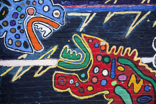 Detail of brightly coloured mural near the station of 18th St | Pilsen Murals | United States
