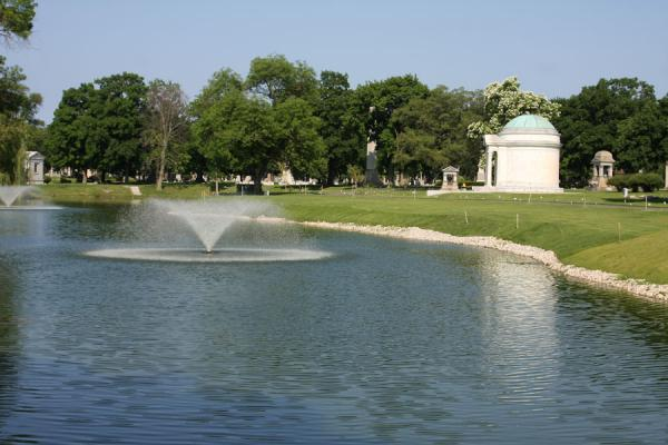 Picture of Rosehill Cemetery (U.S.A.): Pond with tombs around it in Rosehill Cemetery