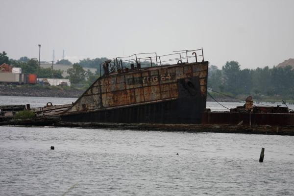 Bow of shipwreck at Rossville, off Staten Island | Rossville Boatyard | U.S.A.