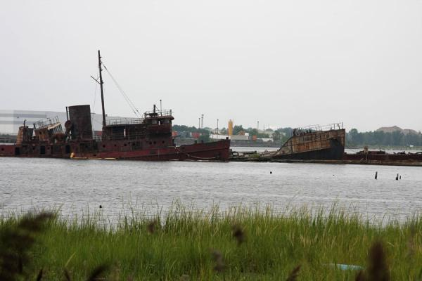 Several shipwrecks lying in Arthur Kill, off Rossville | Rossville Boatyard | U.S.A.