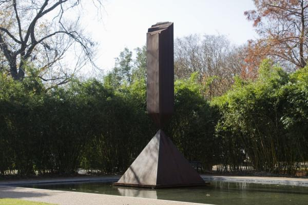 Side view of the broken obelisk and reflecting pool | Rothko Chapel | U.S.A.