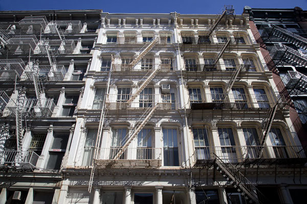 Looking up a row of houses in Soho | Soho | U.S.A.
