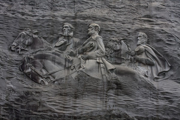 Close-up of the memorial on the face of Stone Mountain, the largest bas relief sculpture in the world | Atlanta | Stati Uniti