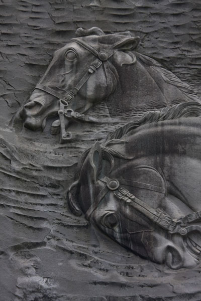 Close-up of two horses, part of the memorial in the face of Stone Mountain | Atlanta | Stati Uniti