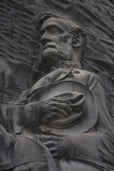 Picture of Robert E. Lee as part of the memorial in Stone Mountain