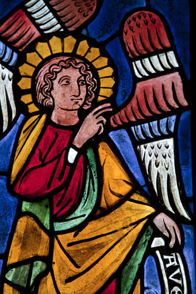 Detail of stained glass window depicting the Angel Annunciate | The Cloisters | U.S.A.