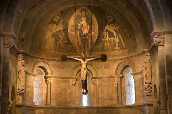 The Fuentidueña Chapel with crucifix and fresco of Virgin and Child | The Cloisters | U.S.A.