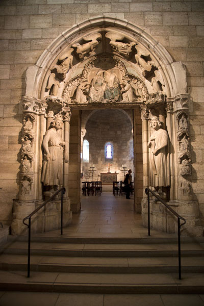 Picture of The Langon Chapel is reached through the limestone doorway of Moutiers-Saint-Jean
