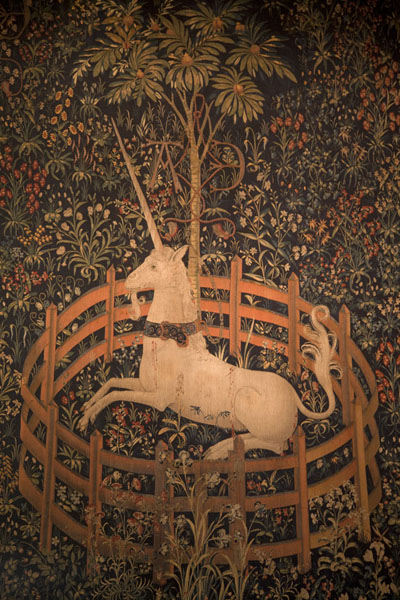 The Unicorn in captivity, a famous tapestry in the Cloisters collection | The Cloisters | U.S.A.