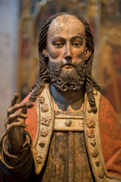 Detail of the Palmesel, a wooden statue of Jezus on a donkey in the Late Gothic Hall | The Cloisters | U.S.A.