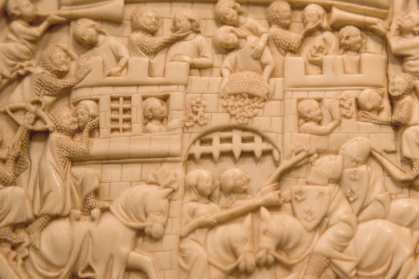 Detail of an ivory roundel with scenes of the attack on the Castle of Love on display in the Treasury | The Cloisters | U.S.A.