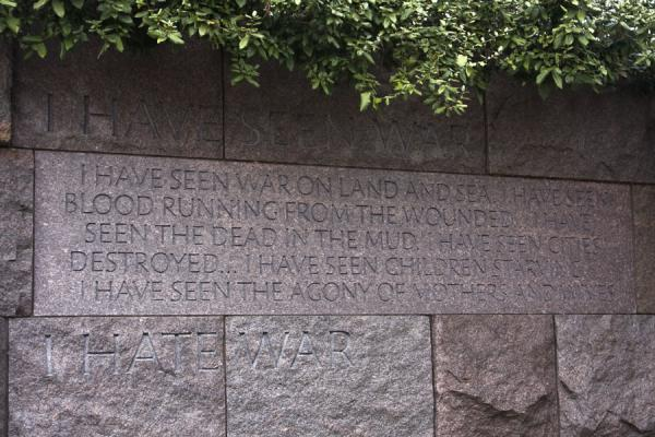 Picture of Tidal Basin (United States): One of the quotes sculpted out of a wall in the Roosevelt Memorial