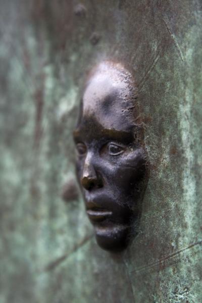 Foto van Close-up of face sculpted in the Roosevelt MemorialTidal Basin - Verenigde Staten